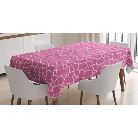 Giraffe Tablecloth, Abstract Tropical Jungle Animal Skin Pattern Pink Camouflage Style Feminine Design, Rectangular Table Cover for Dining Room Kitchen, 52 X 70 Inches, Pink Cream, by Ambesonne](Camouflage Tablecloths)