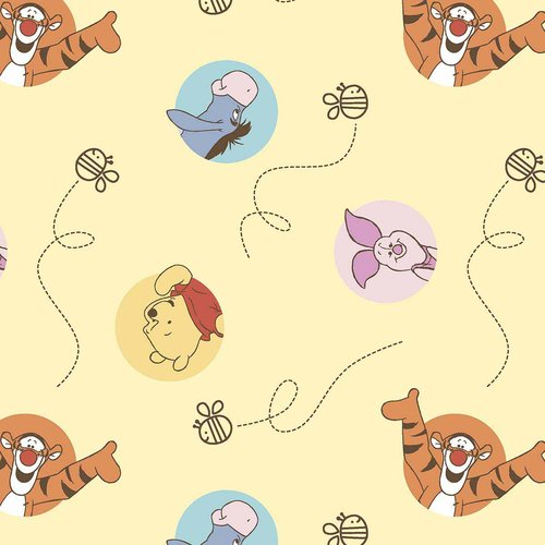 Disney Pooh Bee Cuddly Dot Toss Fabric by the Yard