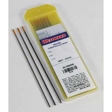 WESTWARD Welding Electrode,TE15L,1/16in.dia.,PK10 31GH50
