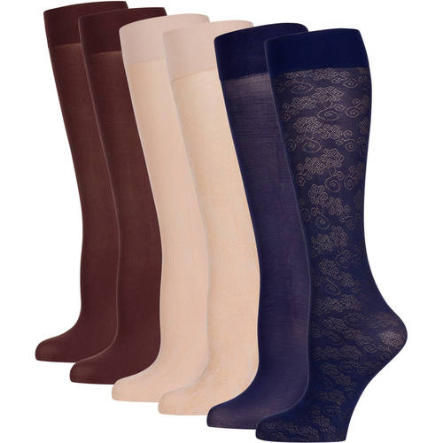 Peds Ladies Flowers And Curls Trouser Socks 6 Pairs ...