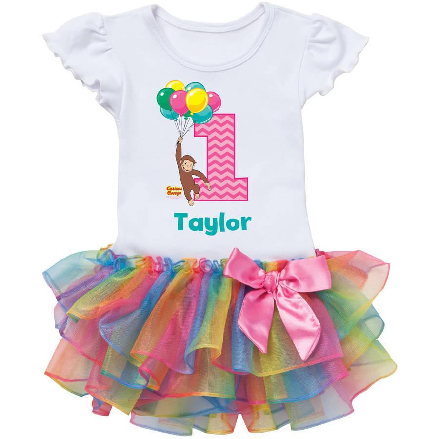 Curious George Birthday Rainbow Personalized Tutu Tee