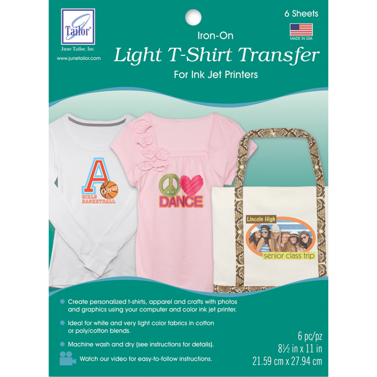 "Light T-Shirt Iron-On Ink Jet Transfer Sheets, 8.5"" x 11"", 6pk"