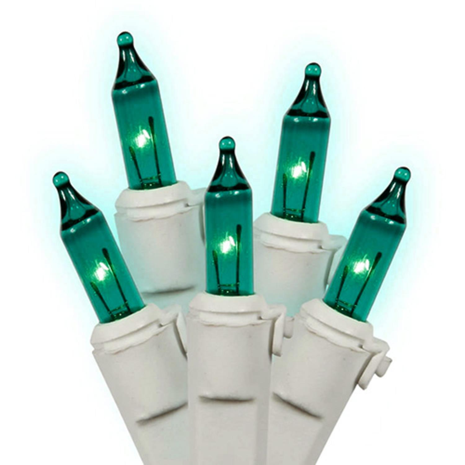 Set of 100 Teal Green Mini Christmas Lights - White Wire