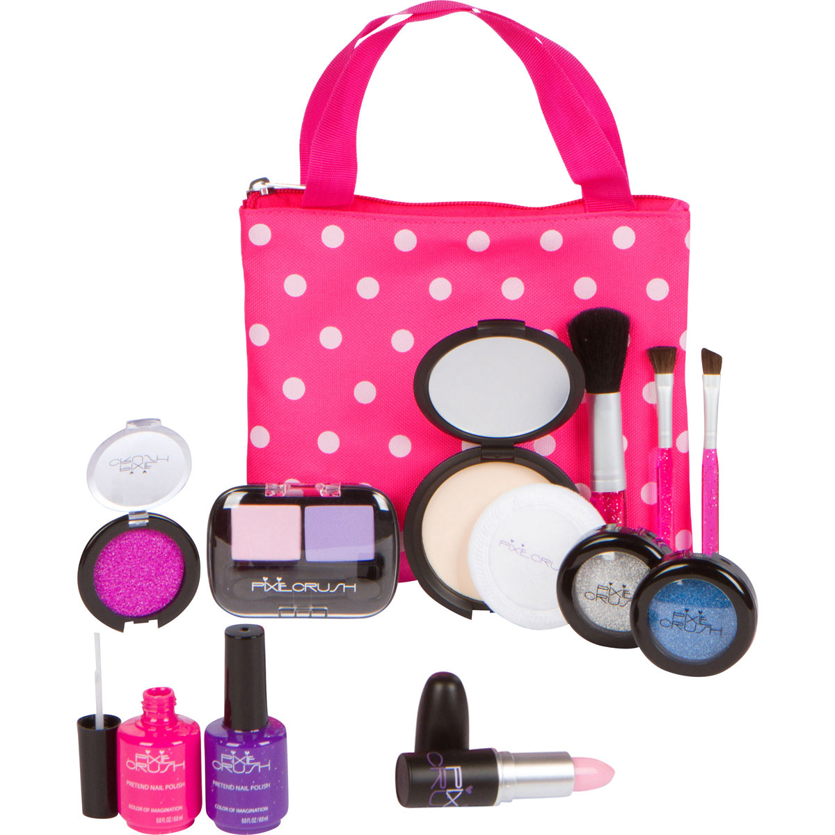 PixieCrush Pretend Play Makeup Kit. Designer Girls Polka Dot Bag - Beauty Basics Set