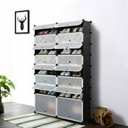 Ikayaa Multi Use 32 Pairs Diy Cube Plastic Shoes Rack 16 Grids Storage Cabinet