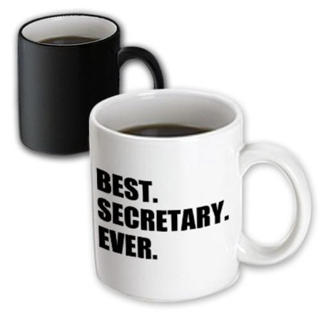 3dRose Best Secretary Ever, fun gift for talented secretaries, black text, Magic Transforming Mug,