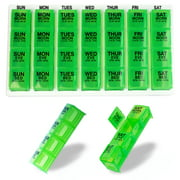 GMS 4 Times a Day Weekly Pill Reminder - Includes 7 Removable Pill Boxes in a Flat White Tray (Green)