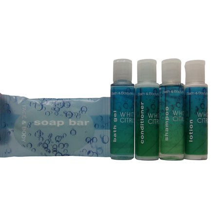 Bath and Body Works White Citrus Travel Set 2 of Each Bath Gel, Shampoo, Conditioner, Lotion, & Soap