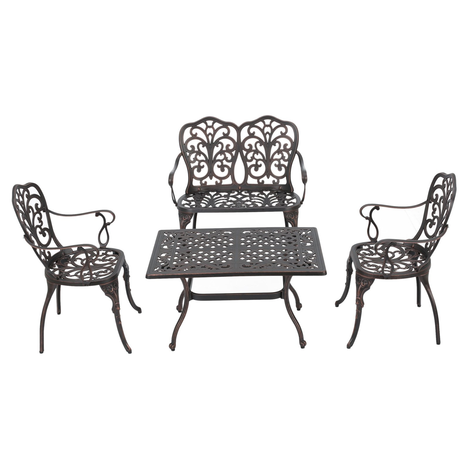 Powder Hill Cast Aluminum 4 Piece Patio Conversation Set by Best Selling Home Decor Furniture LLC