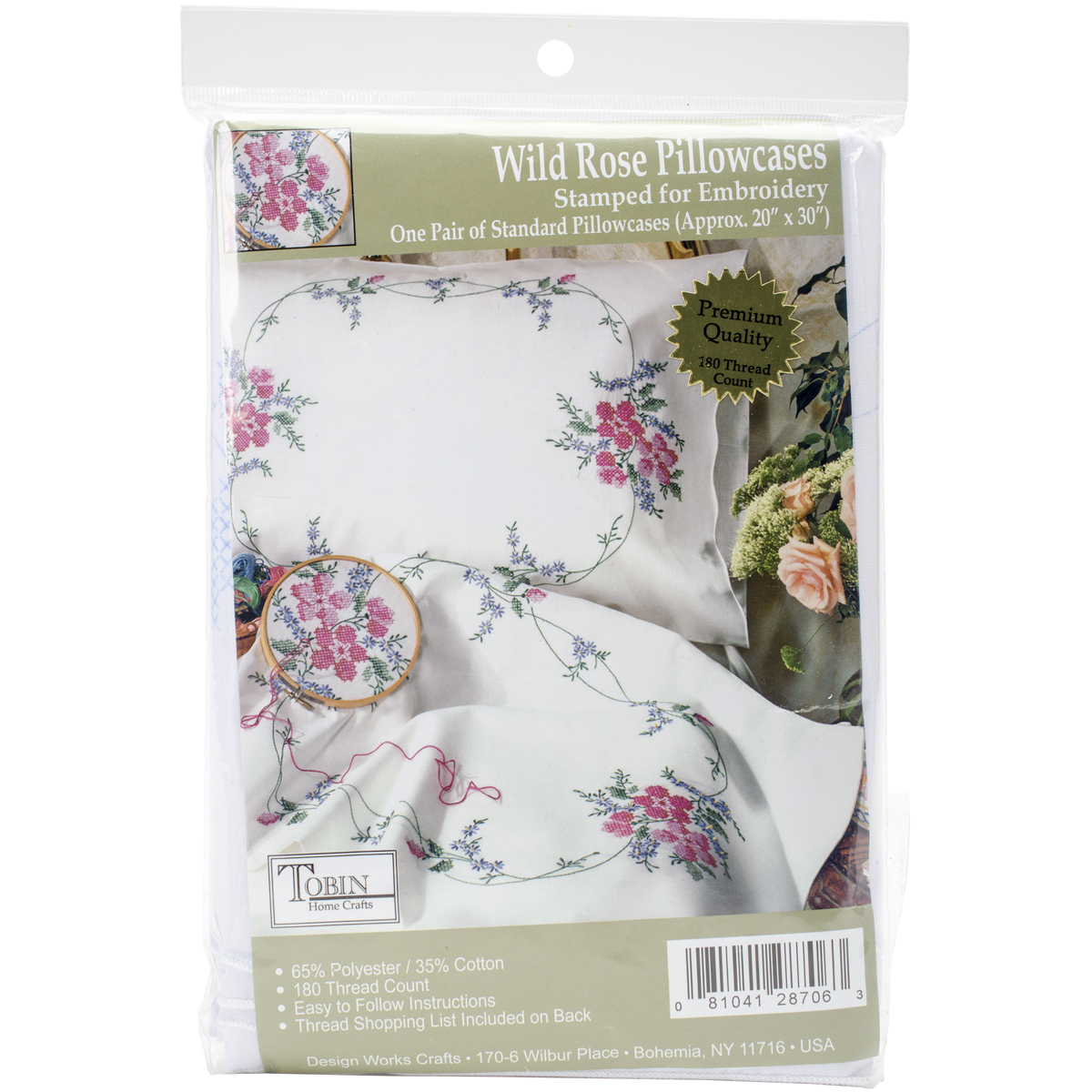 "Tobin Wild Rose Stamped Pillowcase Pair For Embroidery, 20"" x 30"""