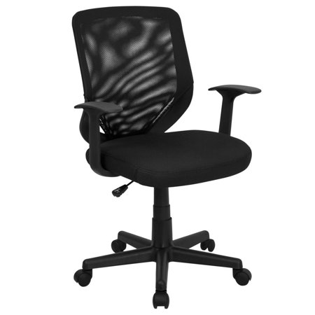 Tapered Back (Mid-Back Black Mesh Tapered Back Swivel Task Office Chair with T-Arms)
