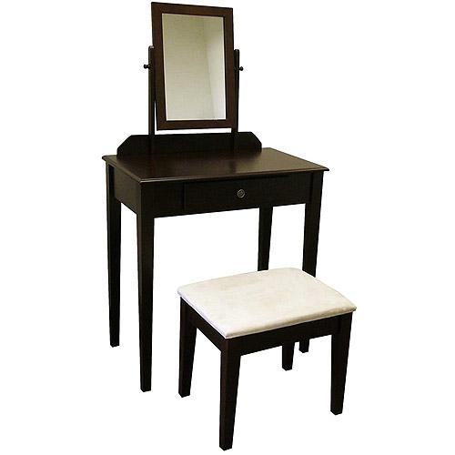 Ore International Kennedy 3-Piece Bedroom Vanity Set, Espresso
