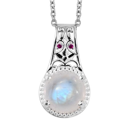 Stainless Steel 925 Sterling Silver Rainbow Moonstone Ruby Cubic Zirconia CZ Pendant Necklace Jewelry for Women Gift Size 20