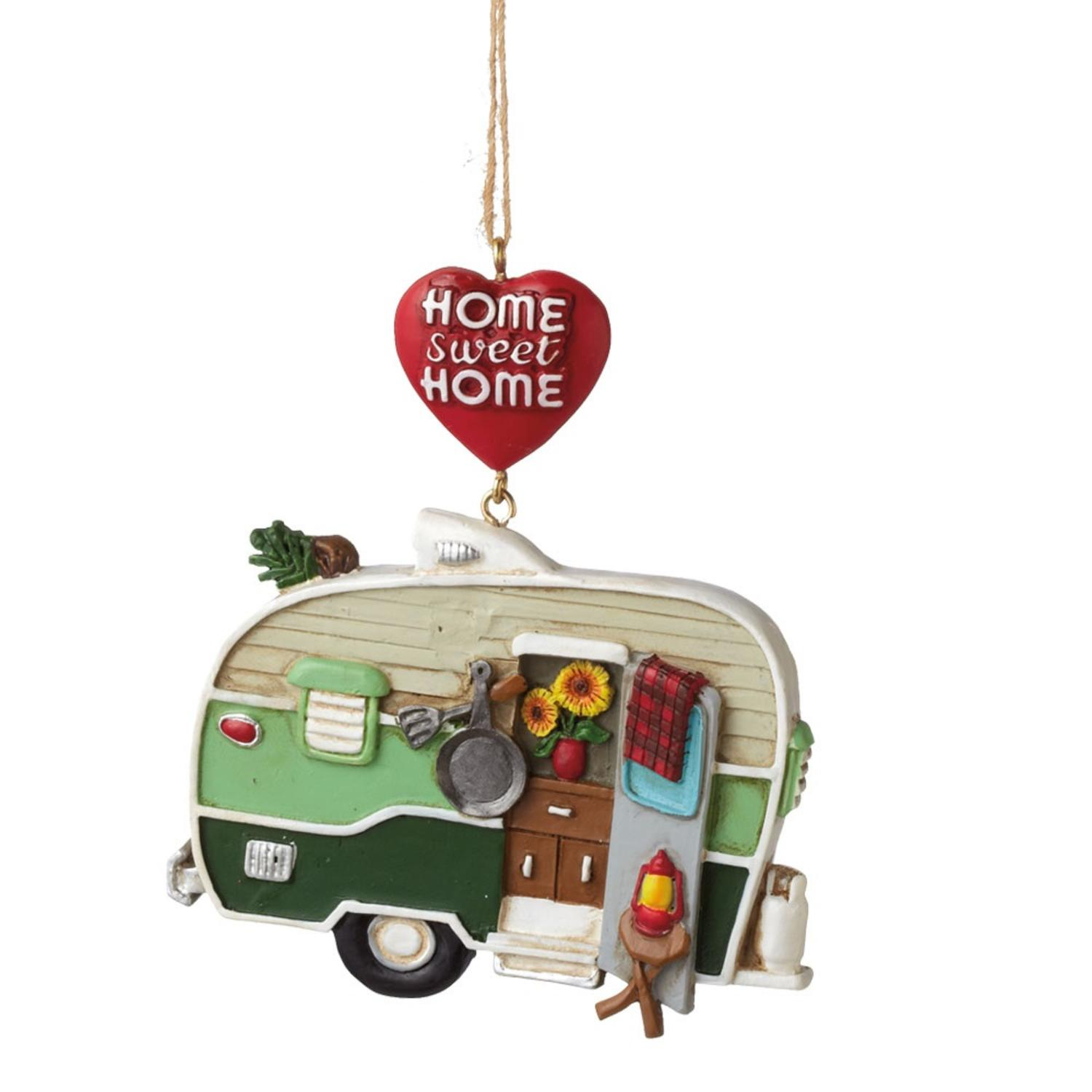 "4"" Multi-Color ""Home Sweet Home"" Hanging Camper Christmas Ornament"
