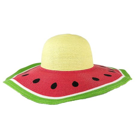 767dfaef Magid Watermelon Wide Brim Floppy Straw Sun Hat, Multi - Walmart.com