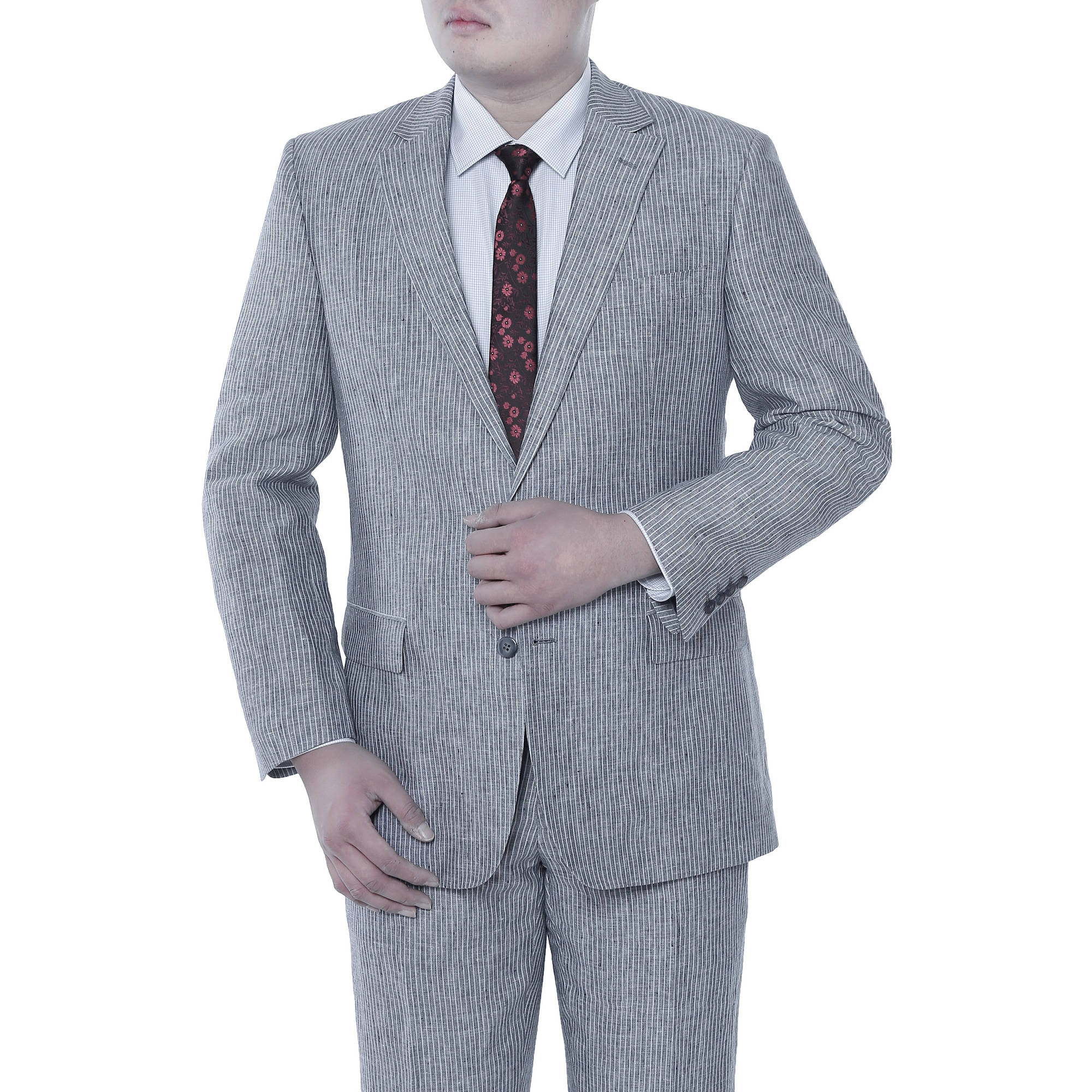Verno Big Men's Blue Chalk Stripe Classic Fit Italian Styled Suit