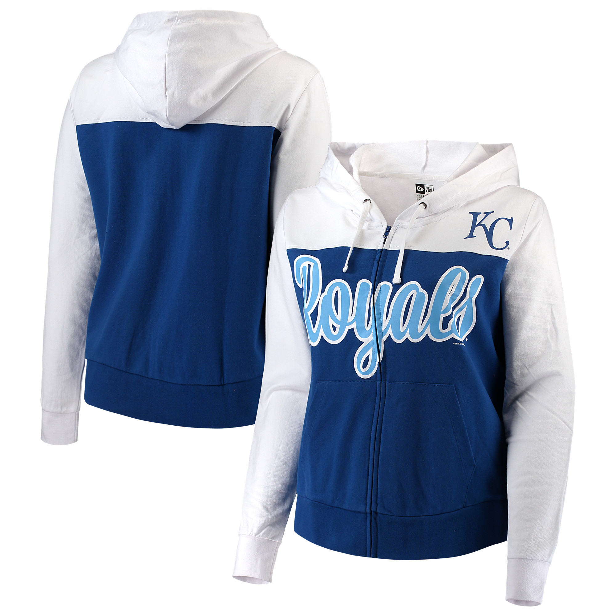 Kansas City Royals 5th & Ocean by New Era Women's Plus Size French Terry Color Block Full-Zip Hoodie - Royal/White