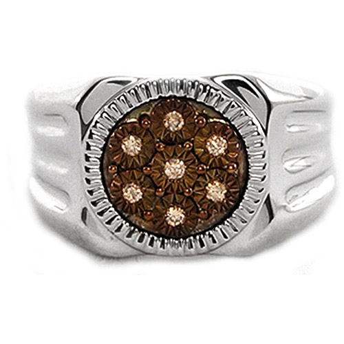 Men's Brown Diamond Accent Circle Sterling Silver Ring