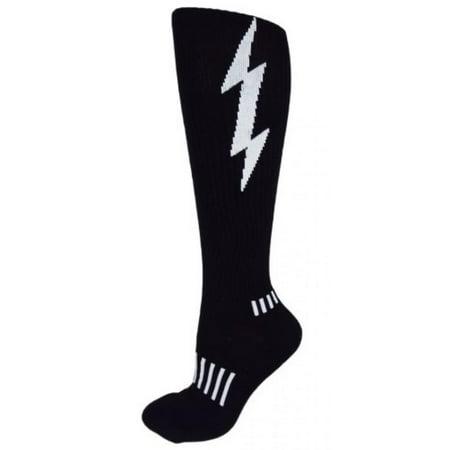(MOXY Socks Black with White Lightning Knee-High Insane Bolt Fitness Deadlift Socks)