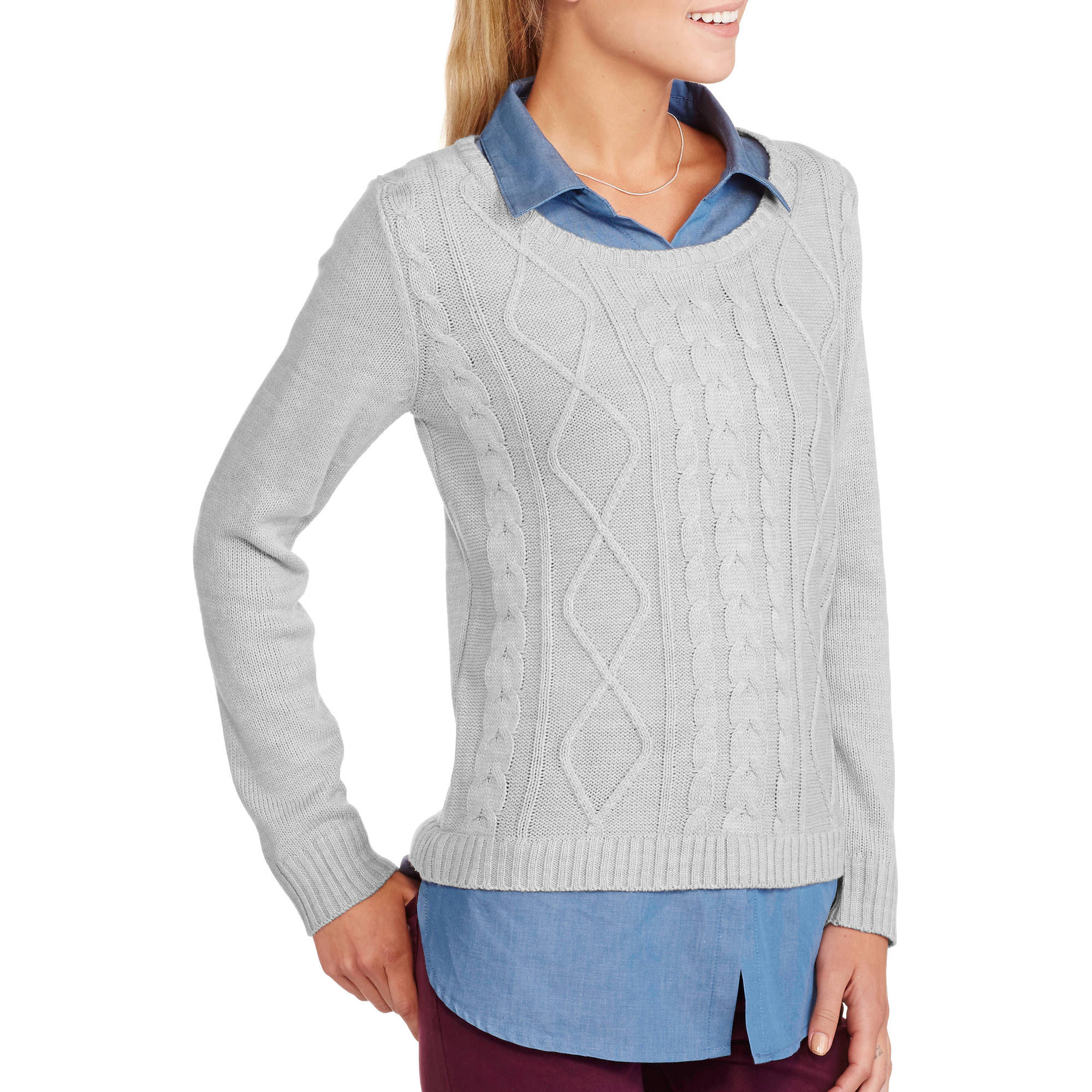 Women's Scoop Neck 2-Fer Fashion Sweater
