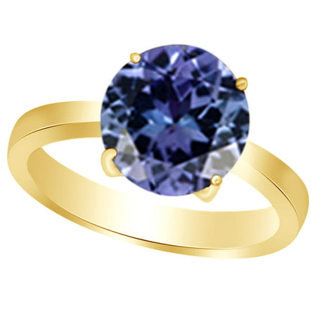 Round-Cut Simulated Purple Alexandrite June Birthstone Solitaire Ring In 14K Yellow Gold Over Sterling Silver (1.5 Cttw) (Pear Solitaire Ring)
