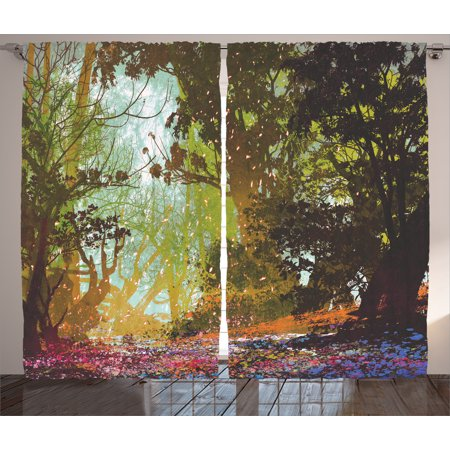 Fantasy Art House Decor Curtains 2 Panels Set, Natural Beauty at Park in Spring with Shadow Falling Leaves Flower Paint, Window Drapes for Living Room Bedroom, 108W X 84L Inches, Multi, by Ambesonne