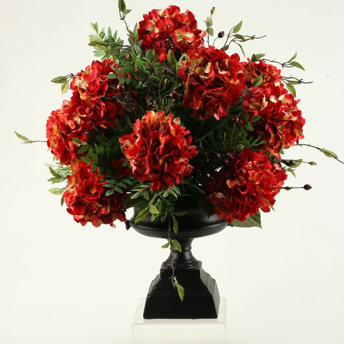 D & W Silks Red Hydrangeas and Locust Spray in Pedestal Urn