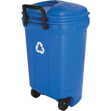 United Solutions 34 Gallon Wheeled Rectangular Blow Molded Trash Can   Recycling Blue. United Solutions 34 Gallon Wheeled Rectangular Blow Molded Trash