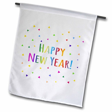 3dRose Happy New Year colorful rainbow text and multicolor confetti triangles, Garden Flag, 12 by 18-Inch