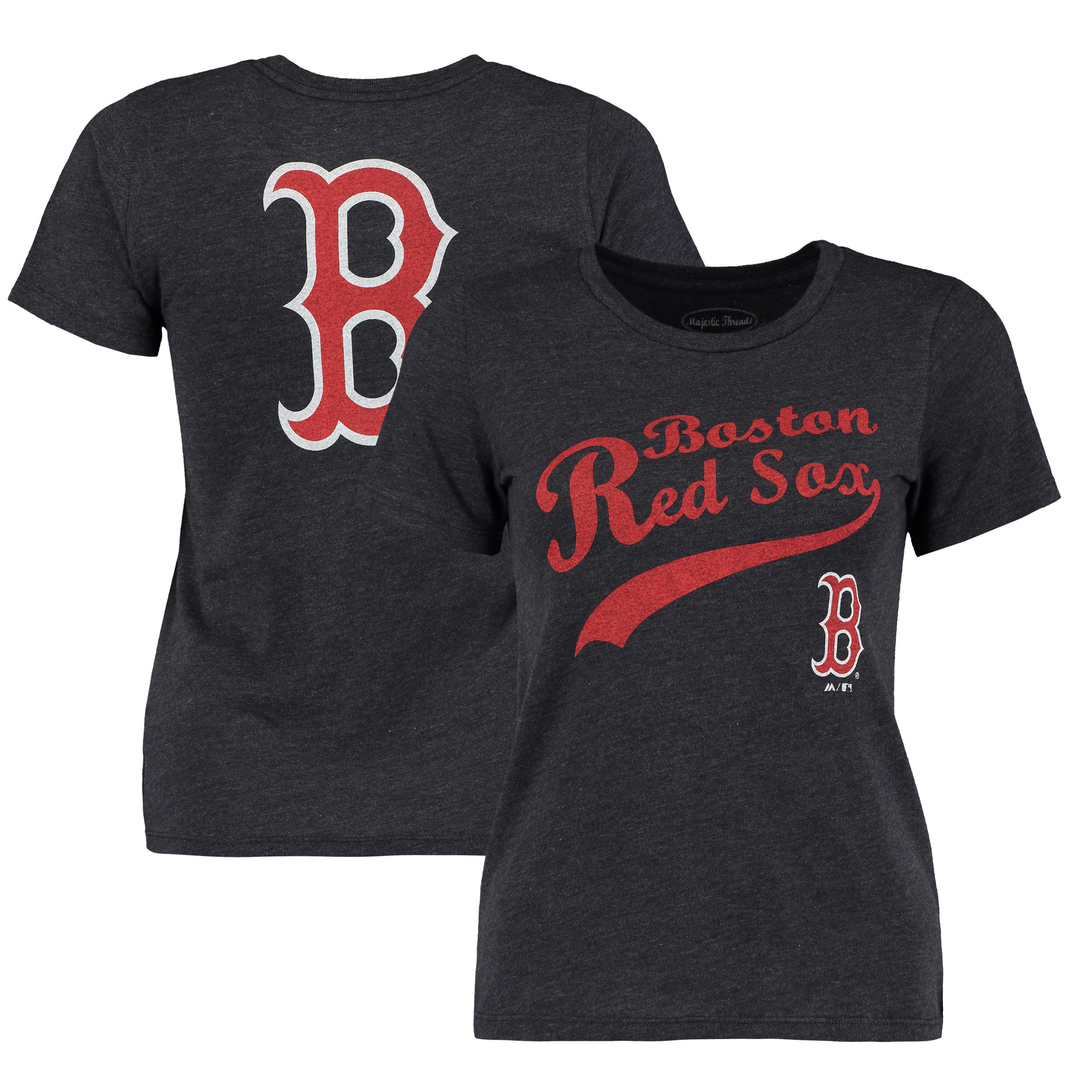 Boston Red Sox Majestic Threads Women's Front and Back Tri-Blend T-Shirt - Navy