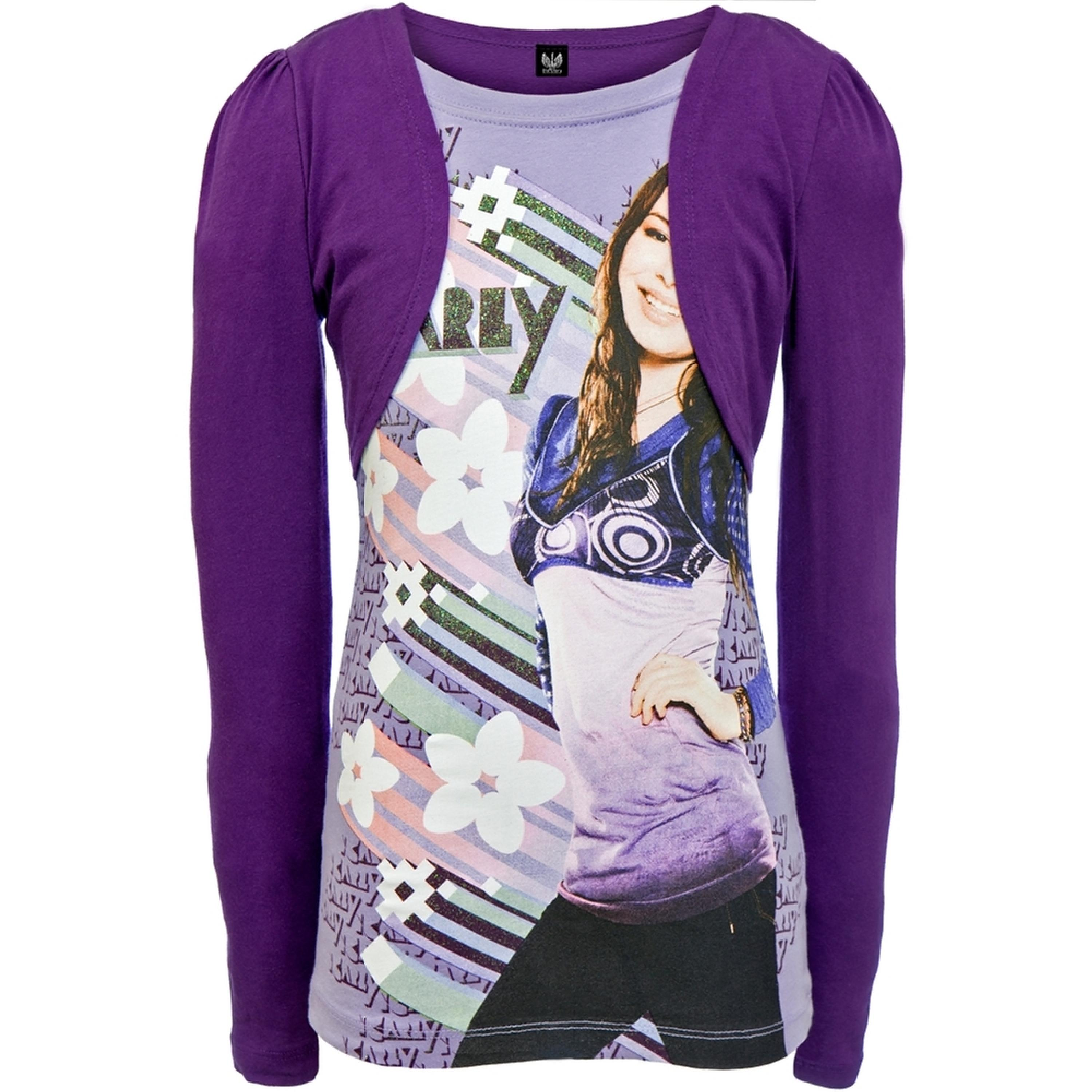 iCarly - Flower Lines Girls Youth 2fer Long Sleeve T-Shirt