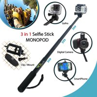 PRO 3 in 1 MONOPOD Pole f/ GoPro Hero 4 Silver w/ 3 Extendable Sections