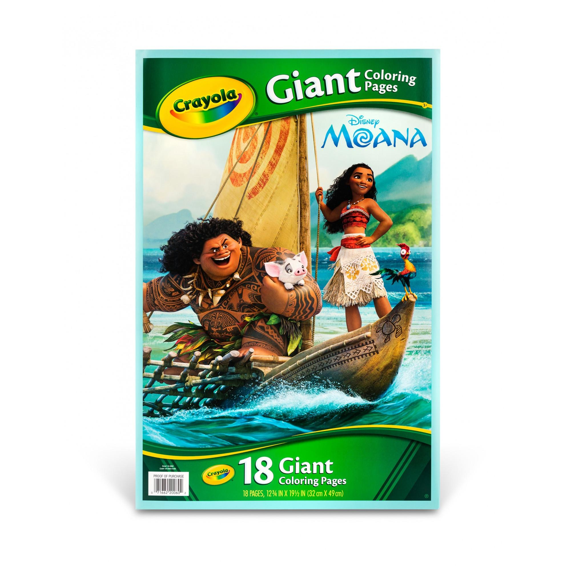 Crayola, Disney's Moana, 18 Giant Coloring Pages, Gift for Girls by Crayola