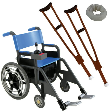 Collectible Wrestling Figure - Wheelchair Playset (Blue) - Ringside Collectibles Exclusive Toy Wrestling Action Figure Accessories