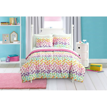 mainstays kids spotty rainbow bed in a bag bedding set twin 1 pillowcase 1 sham ebay. Black Bedroom Furniture Sets. Home Design Ideas