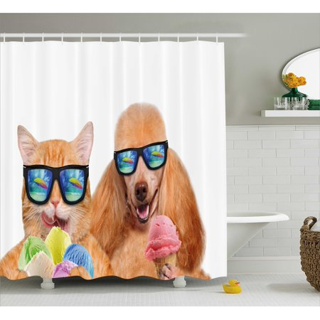 Animal Shower Curtain Cat Dog Pet With Sunglasses Eating Ice Cream Retro Cool Vintage Pop