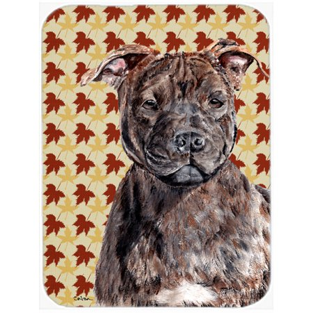 Staffordshire Bull Terrier Staffie Fall Leaves Mouse Pad, Hot Pad or Trivet SC9681MP