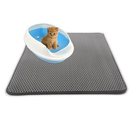 Rubber Litter - Double-Layer Cat Litter Mat Trapper Foldable Flexible Pad Pet Foam Rubber