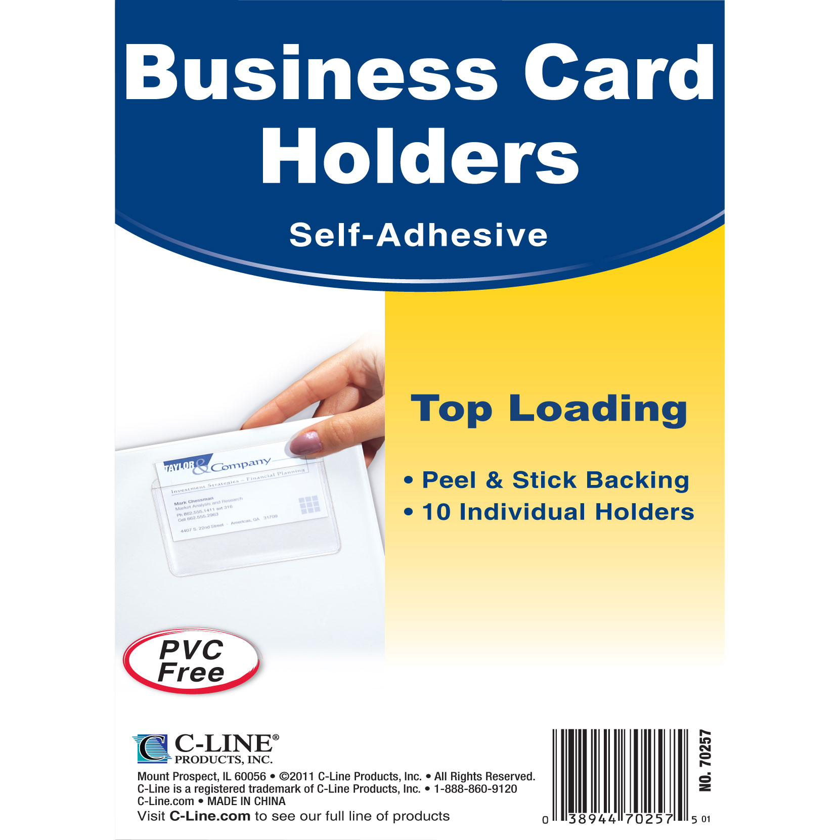 C-Line Self-Adhesive Top Load Business Card Holders - Walmart.com