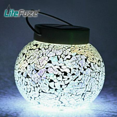 Solar Rechargeable Garden (LiteFuze Mosaic Glass Rechargeable Solar Lamp Outdoor Garden Light -)