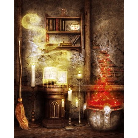 GreenDecor Polyster Photography Background 5x7ft Red Light Vintage Brick Wall Magical Broom Halloween Photo Backdrop Newborn Background Backdrop](Vintage Halloween Photo)