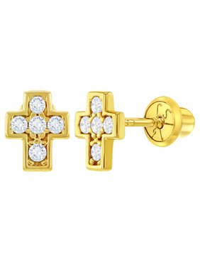 3ff796873 Product Image 14k Yellow Gold Clear CZ Little Cross Screw Back Earrings for Baby  Girls. In Season Jewelry. Product Title14k Yellow ...