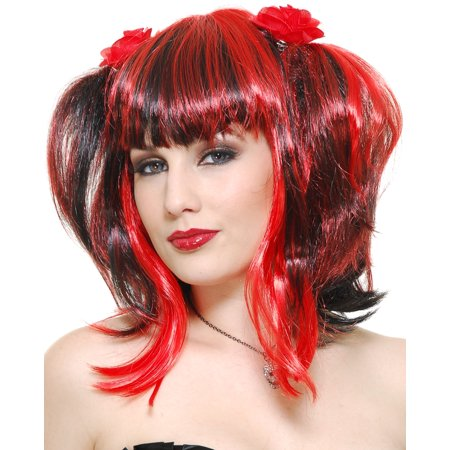 Womens Deluxe Red Black Witch Gothic Anime Wig