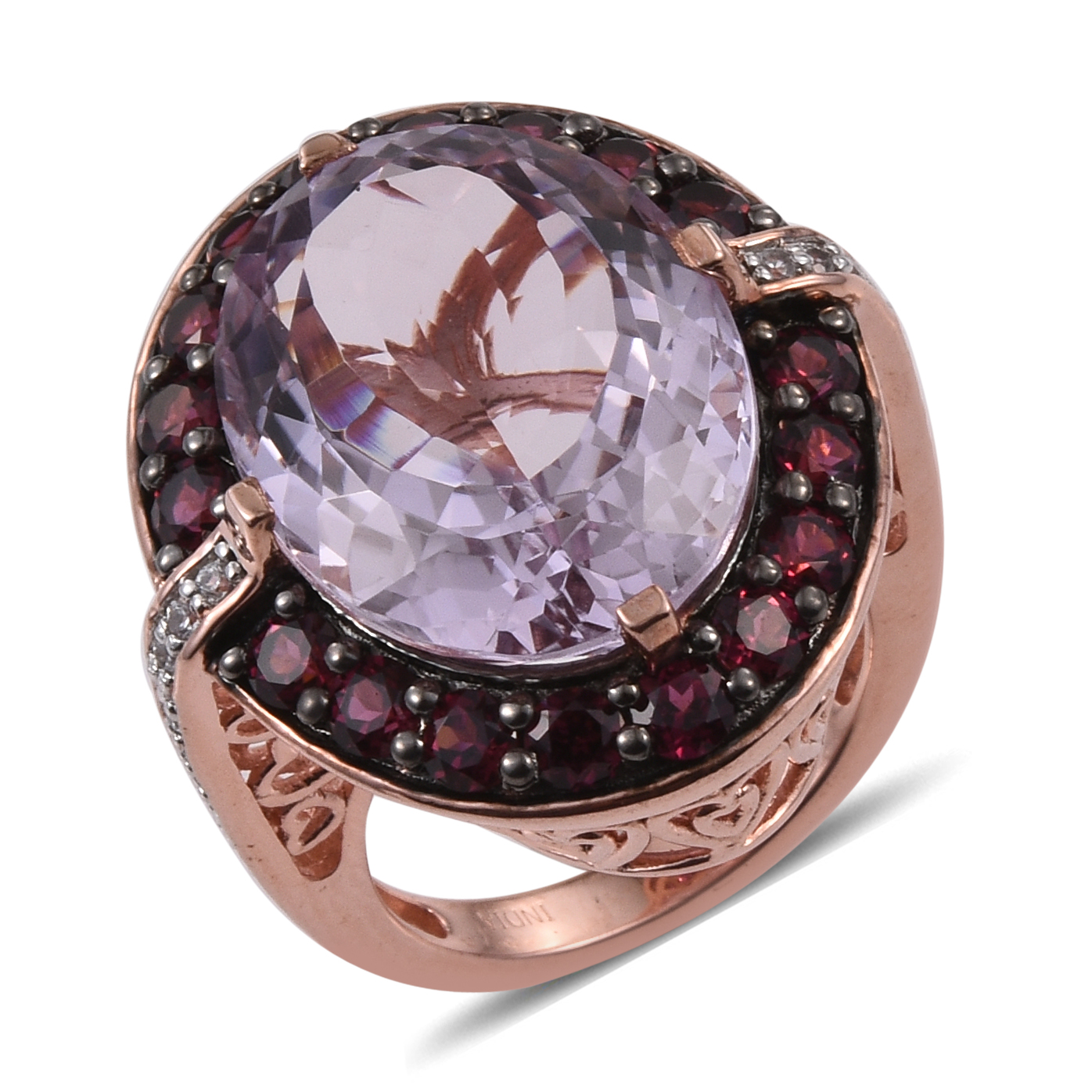 Pink Amethyst, Multi Gemstone Rose Gold Plated Silver Cocktail Ring 5.7 cttw by Shop LC