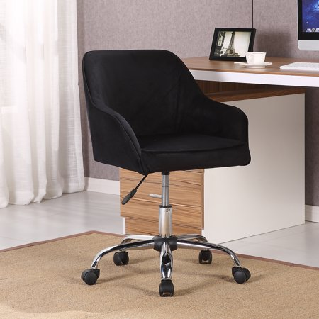 Belleze Modern Office Chair Task Desk Adjustable Swivel Height Velvet, Black ()