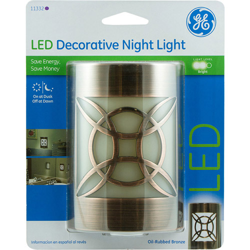 LED Night Light, Coverlite Auto On/Off Geometric Faux Bronze
