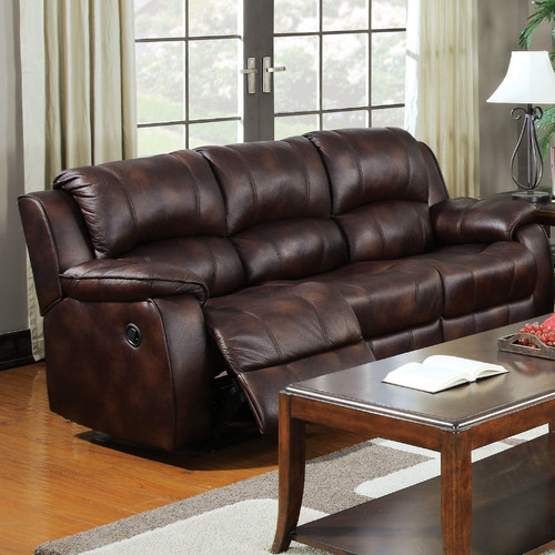 ACME Zanthe Reclining Sofa in Brown Polished Microfiber