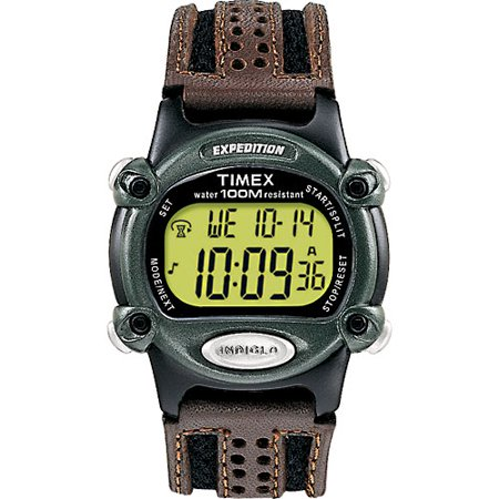 Timex Mens Expedition Digital Cat Watch  Brown Nylon Leather Strap