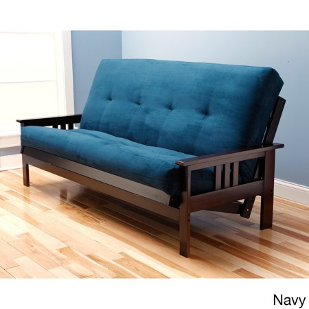 Somette Monterey Queen Size Futon Sofa Bed With Suede Innerspring Mattress Navy