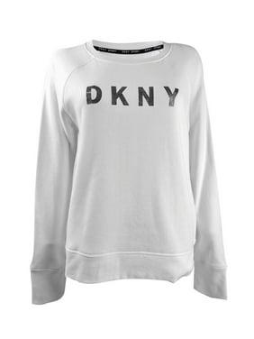 uk12-14 M DKNY Women/'s White Branded Print Jersey Sweatshirt Black/&White
